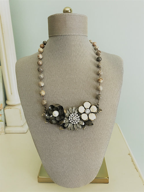 vintage flowers with coral beads