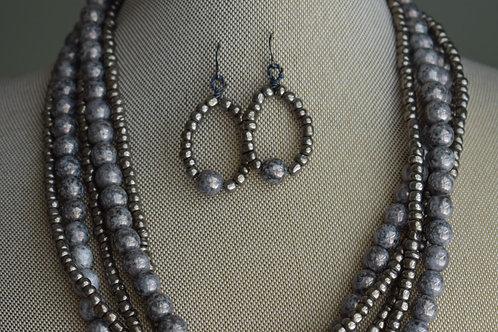 grey & iris luster 5 strand