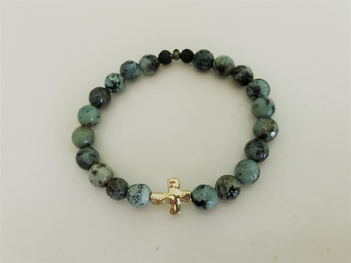 african turquoise with gold cross