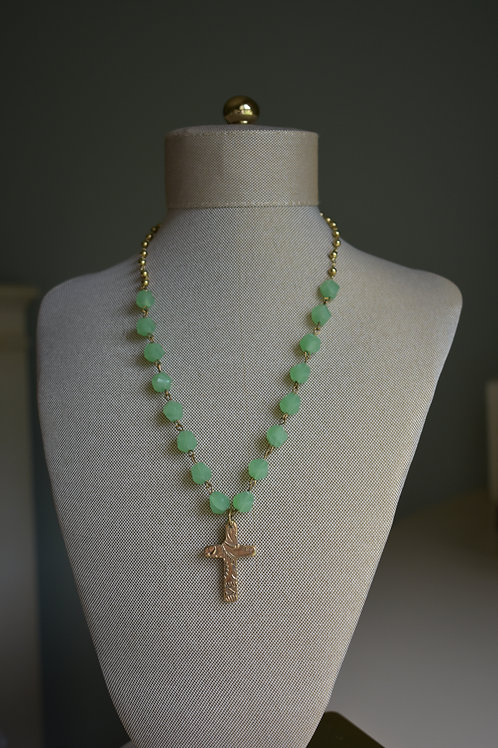 green sea glass with bronze stamped cross