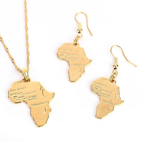 African Map Gold Jewelry Set