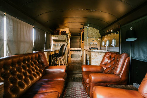 View inside of the converted American School Bus