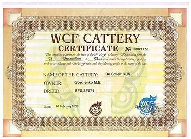 «Дю Солей» (DUSoleil). Регистрация питомника WCF CATTERY