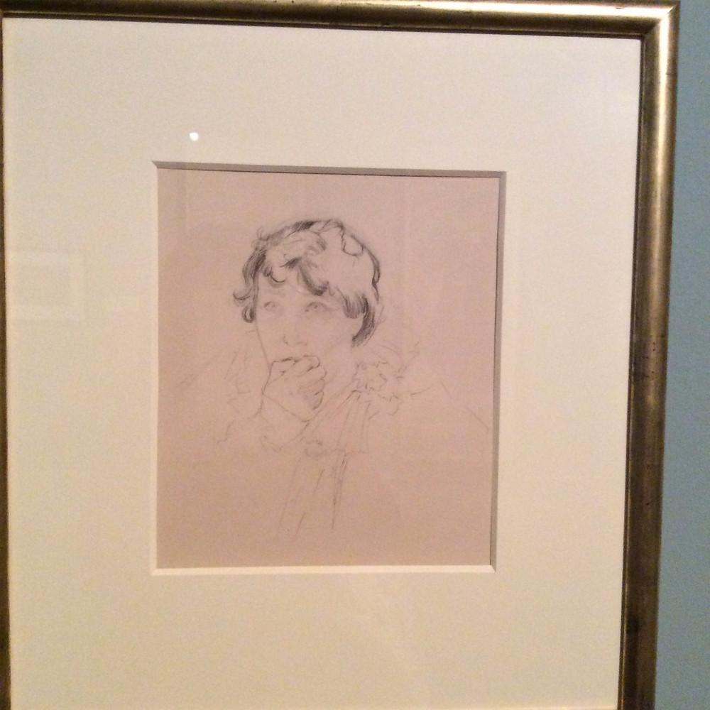 Sarah Bernhardt by Alphonse Mucha (pencil drawing)