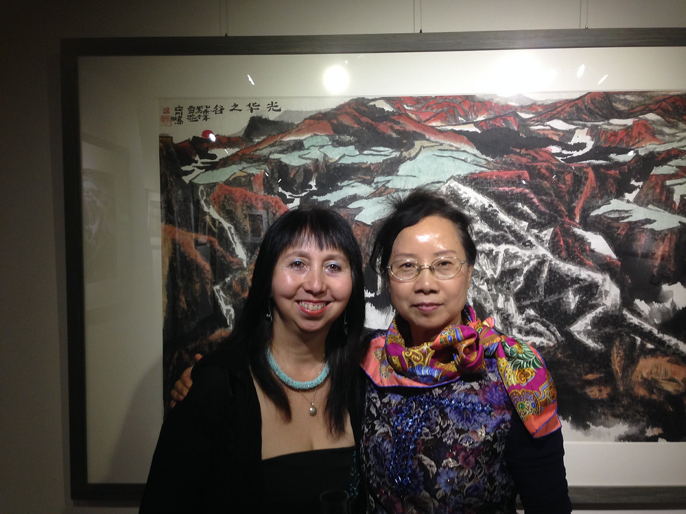 Panni Loh and Qi Peng,with Qi Peng's Mountain and Sea exhibition
