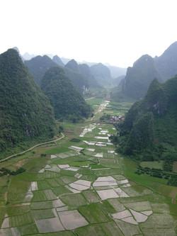 Aerial View Rice Fields Yangshou Panni