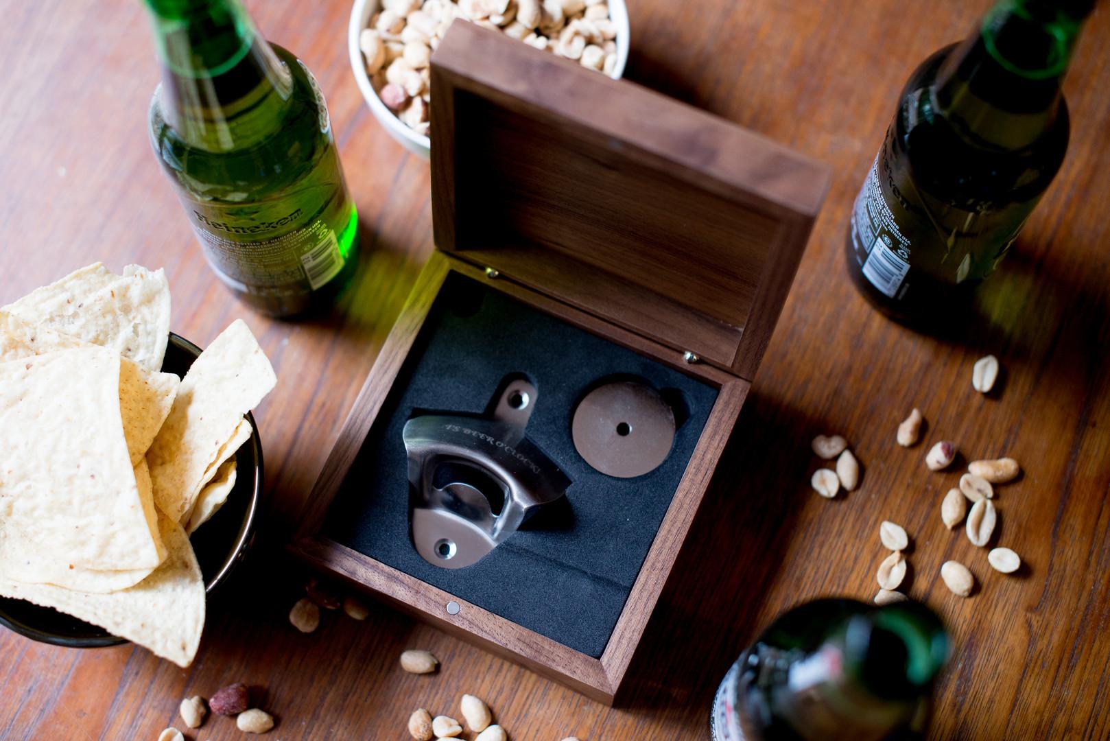 gift box with wall-mounted bottle opener