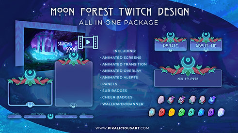 Moon Forest Twitch Design - All in One Package