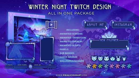 Winter Night Twitch Design - All in One Package