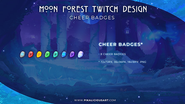 Moon Forest Twitch Design - Cheer Badges