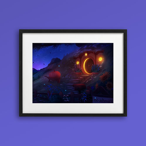 Print - Hobbiton at Night