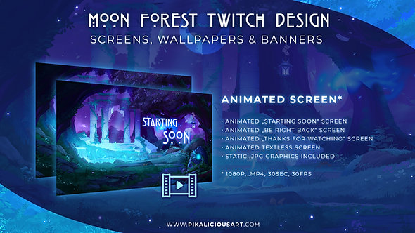 Moon Forest Twitch Design - Screens