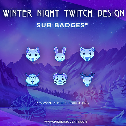 Winter Night Twitch Design - Sub Badges