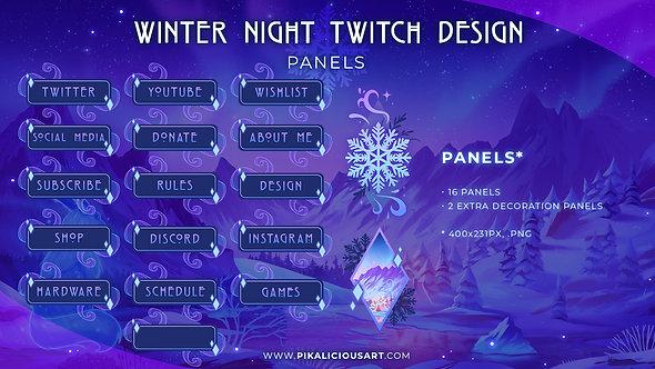 Winter Night Twitch Design - Panels