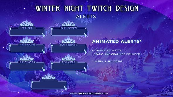 Winter Night Twitch Design - Alerts
