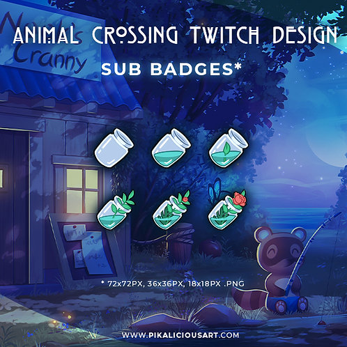 Animal Crossing Twitch Design - Sub Badges Floral