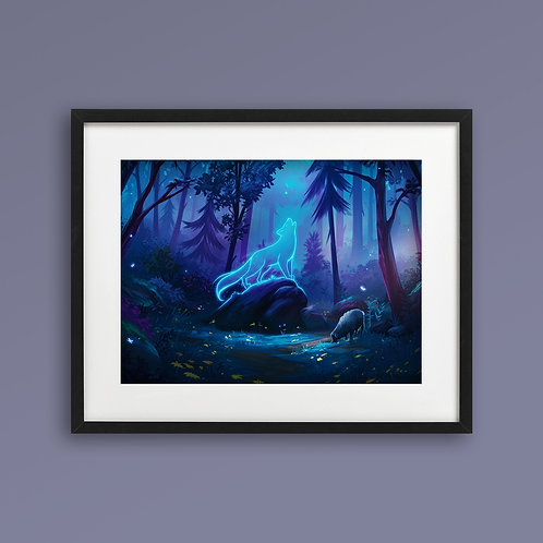 Print - Spirit Wolf Night