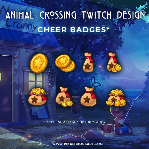 Animal Crossing Twitch Design - Cheer Badges