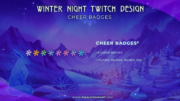 Winter Night Twitch Design - Cheer Badges
