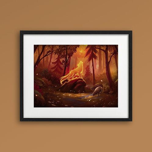 Print - Spirit Wolf Autumn