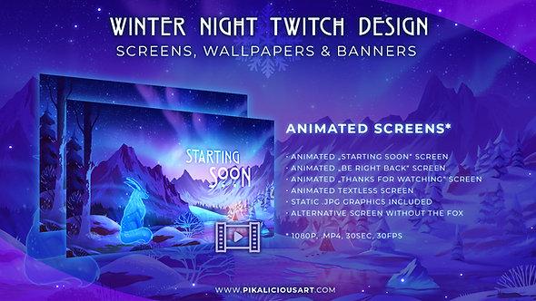 Winter Night Twitch Design - Screens