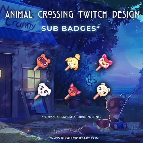 Animal Crossing Twitch Design - Sub Badges Standard