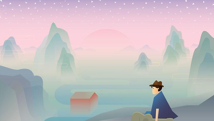 Animated beautiful modern Chinese landscape