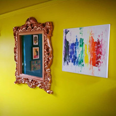 Rainbow abstract on white, in a customer's home, 2018