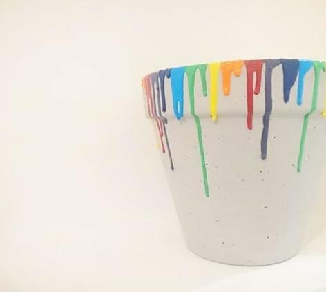 Custom order of rainbow painted plant pot, 2018
