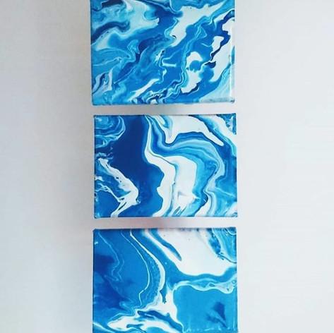 Acrylic flow triptych, 2018