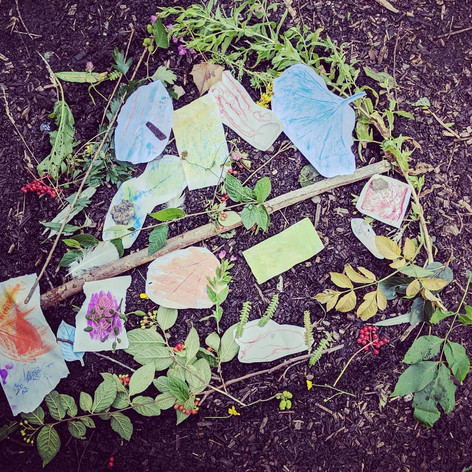 Creating a nature mandala, 2019