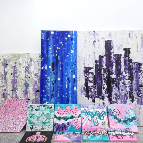 A selection of paintings, waiting to be photographed, 2019