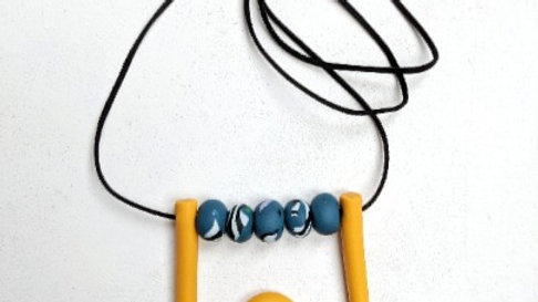 Handmade Orange Swirly Bright Fun Polymer Clay Necklace