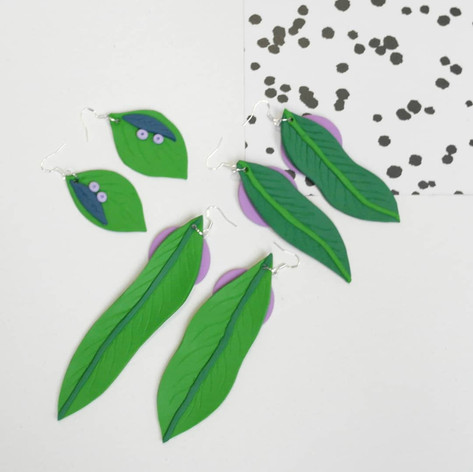 Clay leaf earrings, 2019