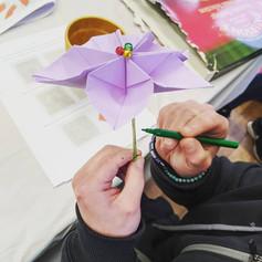 Origami poinsettia making, 2019