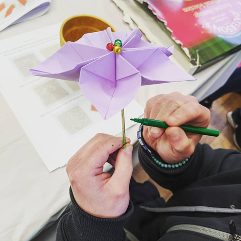 Origami poinsettia making, 2019