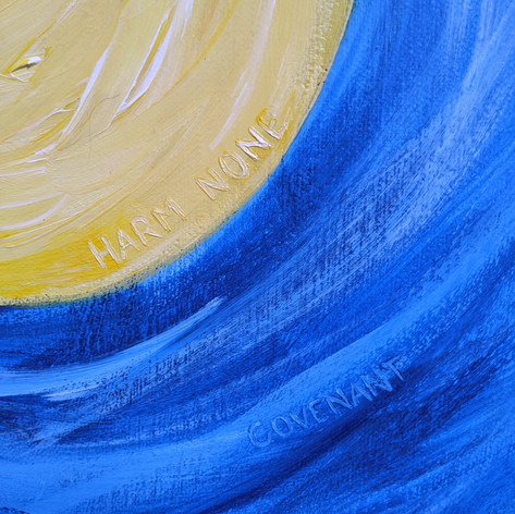 Yellow and blue detail in the artwork, 2020