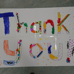 """We created a giant """"thank you"""" with the participants in our final session, 2018"""