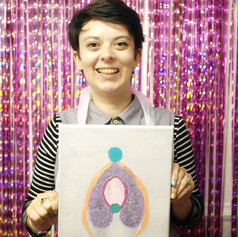 A happy painter with her clitoris, 2019