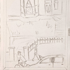 """Example of """"A view from my window"""" drawing - Session 7b, 2021"""