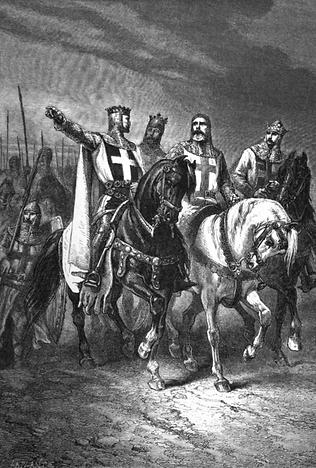 Gravuren les Quatre chefs de la Première croisade. T-Shirt histoire de France. Deuxième page thématique des T-Shirts Croisades fabriqués en France.