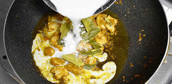add coconut milk to the pan