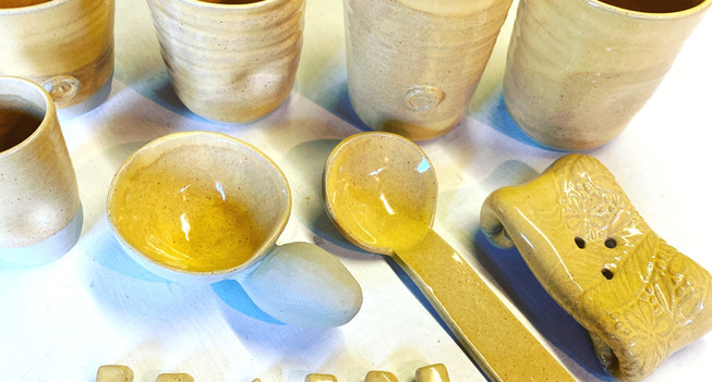 Yellow Collection- coffee/tea/beer beakers, spoons and a soap dish