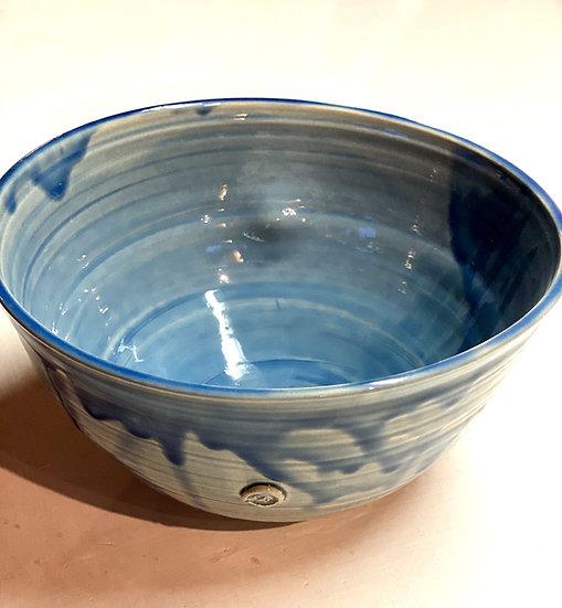 Transparent bright blue large serving Bowl