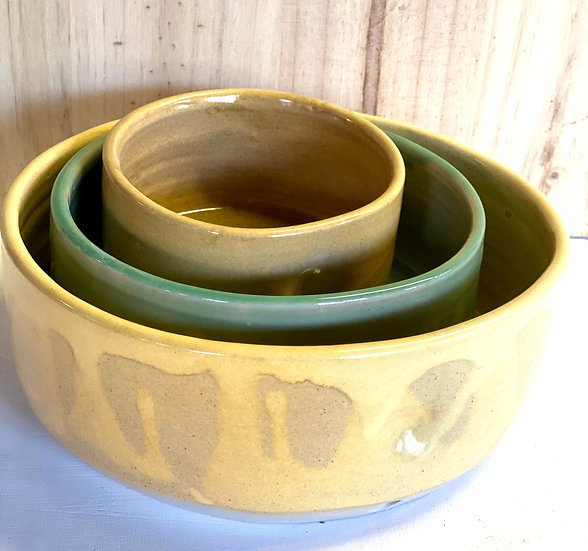 yellow and green set of 3 serving bowls