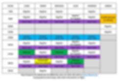 Tableau de l'horaire des cours du site w