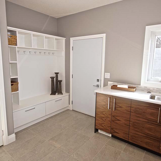 mudroom with custom bench