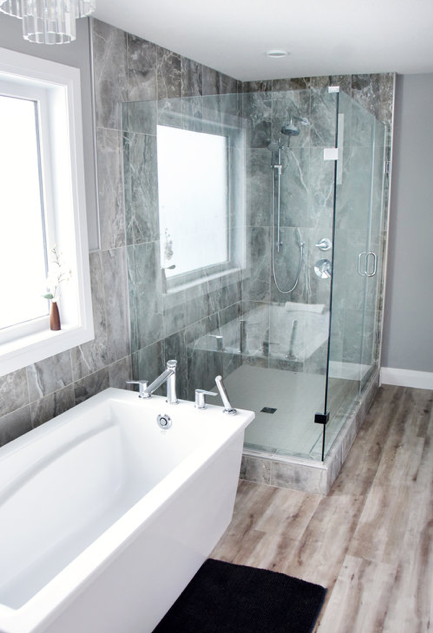 master bathroom with glass shower