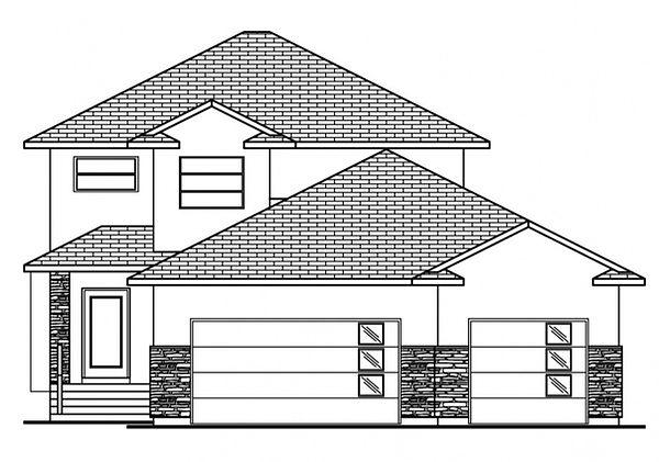 exterior elevation 3 bedroom floorplan