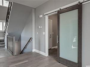 foyer with barn door